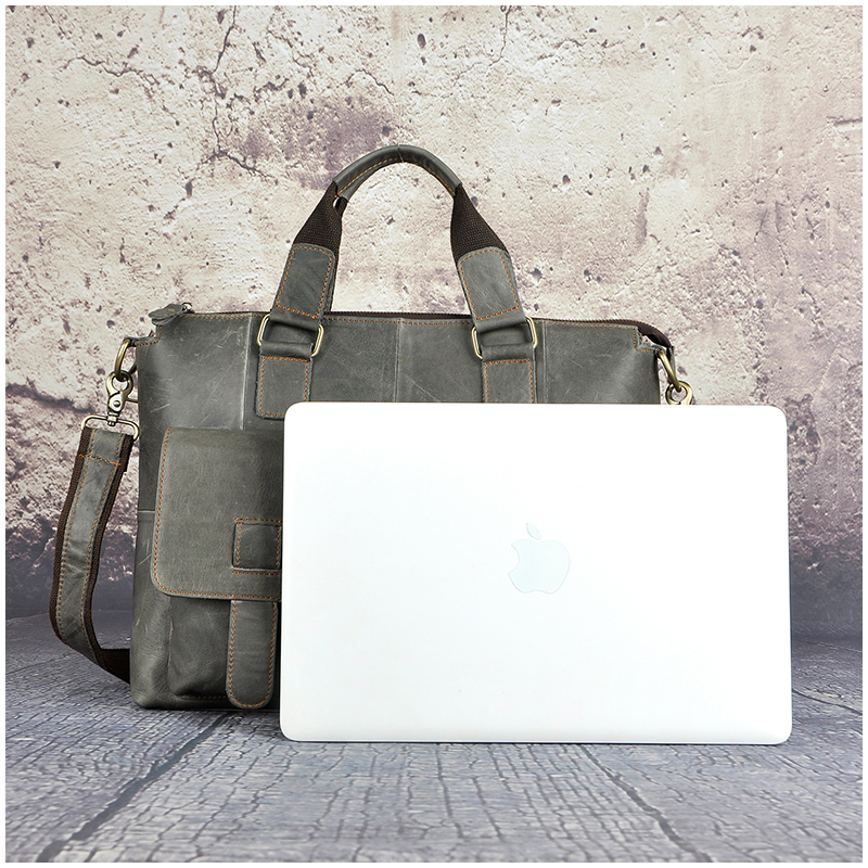 Retro Business herren Aktentaschen 14' Zoll Vollrindleder Einfarbig Reißverschluss Tasche Laptop Notebook Computer Aktentasche Taschen-in Aktentaschen aus Gepäck & Taschen bei  Gruppe 3