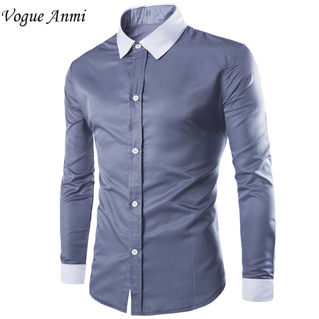 Vogue Anmi.Spring Autumn Urban Fashion Men Dress Shirt Long Sleeve ...
