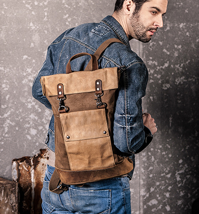 2019 FREE shipping men s vintage travel backpacks casual travel cowhide backpack for men thick canvas