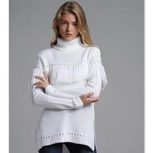 Fashion Tassel Sweater Women Turtleneck Asymmetrical Jumper Pullover Sweater Knitted Warm Winter White Sweaters Tops  E1940 openwork asymmetrical sweater