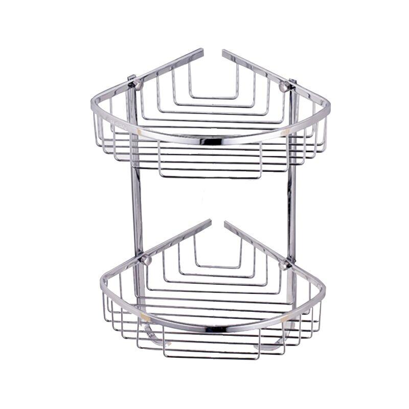2 Layer SUS 304 Stainless Steel Bathroom Shelf Tripod Bathroom Rack Basket Wall Mount Corner Shelf Cosmetic Bathroom Accessories