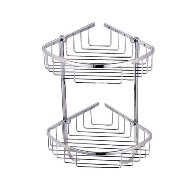 2 Layer Sus 304 Stainless Steel Bathroom Shelf Tripod Rack Basket Wall Mount Corner Cosmetic Accessories