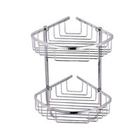 2 Layer SUS 304 Stainless Steel Bathroom Shelf Tripod Bathroom Rack Basket Wall Mount Corner Shelf Cosmetic Bathroom Accessories