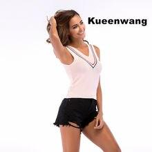 03c4eadc03 Kueenwang Sleeveless women vest V neck crop top tank breathzble plus size  camisas super deal soft summer top women clothes