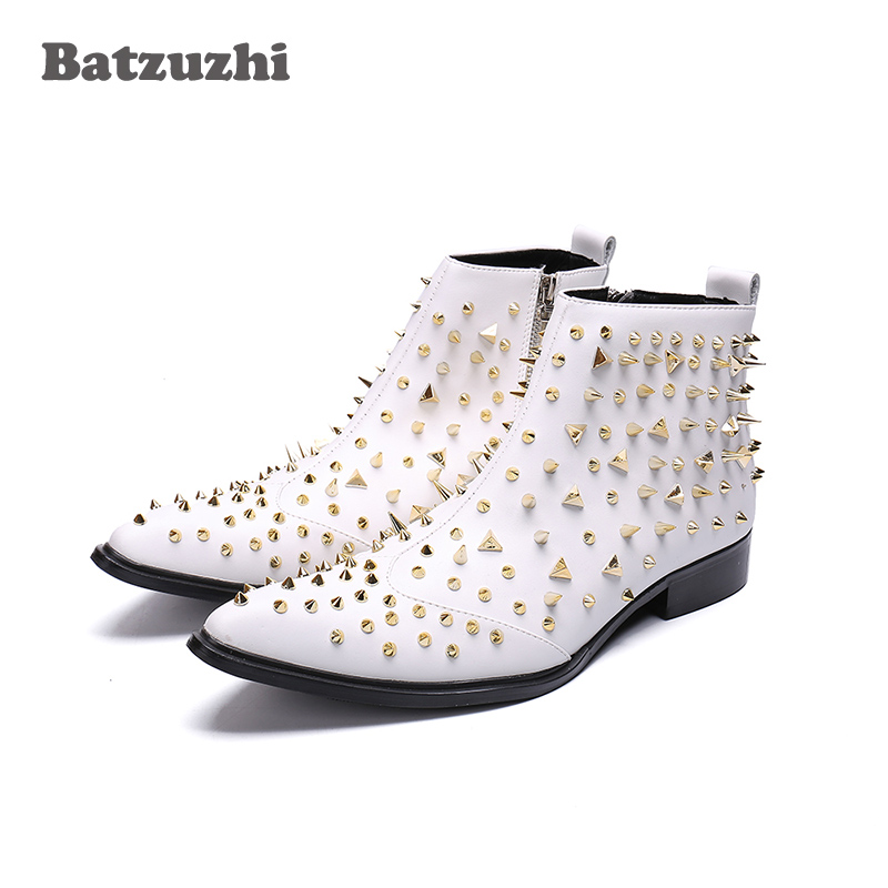 Batzuzhi Handmade Boots Men White Rivets Ankle Men Leather Boots Pointed Toe zapatos de hombre White Wedding Party Boots Men Batzuzhi Handmade Boots Men White Rivets Ankle Men Leather Boots Pointed Toe zapatos de hombre White Wedding Party Boots Men