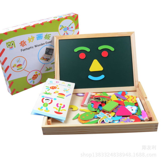 New Baby Education Toys Double-Sided puzzle Wonderful Blackboard Toy Wood Puzzles Magnetic Wooden Educational Toys for Child