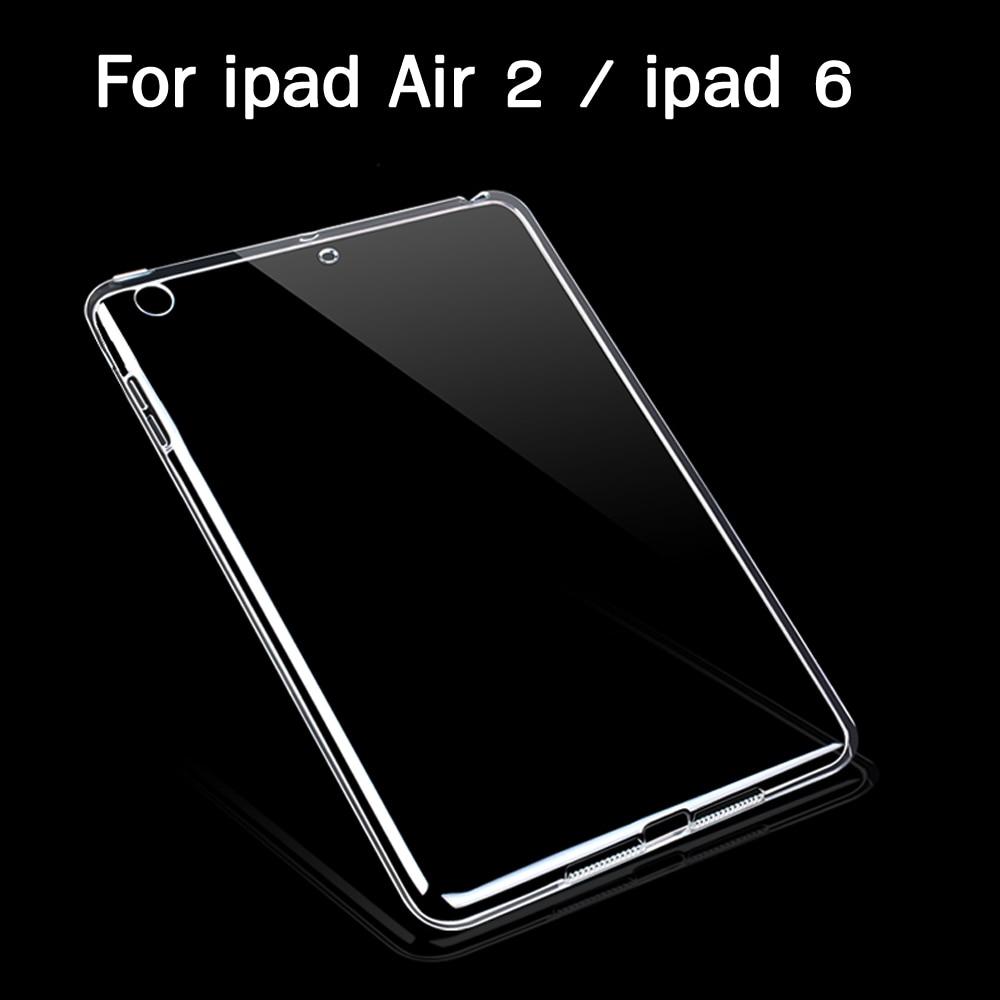 Tabletės obuoliui Ipad Air 2 dėklas Slim Crystal Clear TPU silikono apsauginis nugaros dangtelis ipad 6 minkštajai lukštai 2 PCS nemokamai dovanos