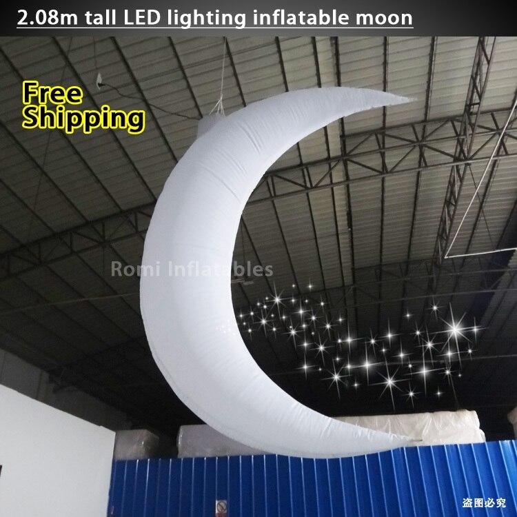 Changement de couleur LED éclairage Gonflable lune Gonflable Croissant de lune de scène décoratif parti décoration Inflatabl lune
