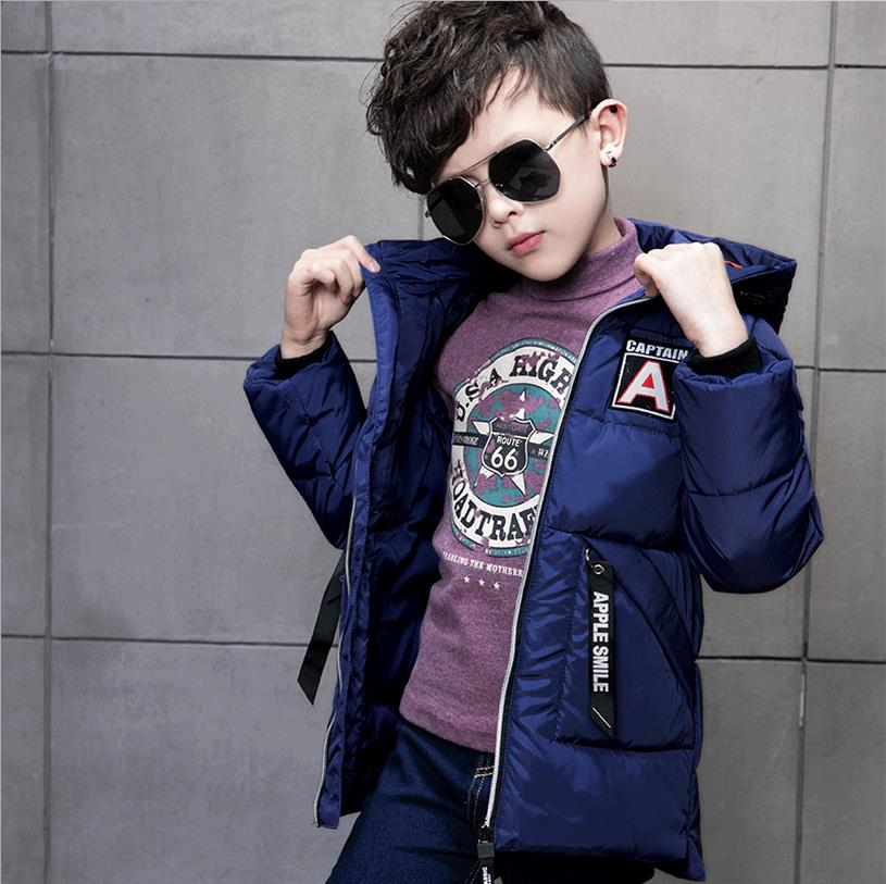 Boys Down Coat Winter Thicken Fashion Long Sleeve Warm Boy Loose Coat Casual Hooded Down White Duck Down Jacket 4-11t 2016 brand new high quality white duck down jacket fashion casual thicken warm men winter jacket coat black white size m 3xl