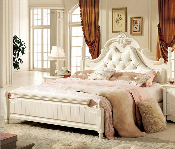 Antique White Bedroom Furniture Leather Bed 2015 New Latest Design