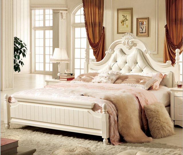 antique white bedroom furniture leather bed 2015 new Latest Design ...