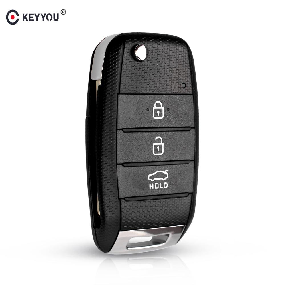 Сменный Чехол KEYYOU с 3 кнопками для Kia K2, K3, K5, Carens, Cerato, Forte, чехол для автомобильного брелка, корпус для дистанционного ключа, складной чехол