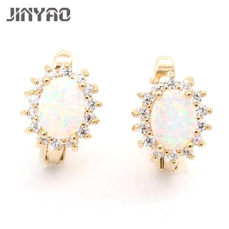 JINYAO šperky oválné oheň opál zlaté barvy AAA kubické zirkony náušnice pro ženy svatební výročí šperky 4 barvy