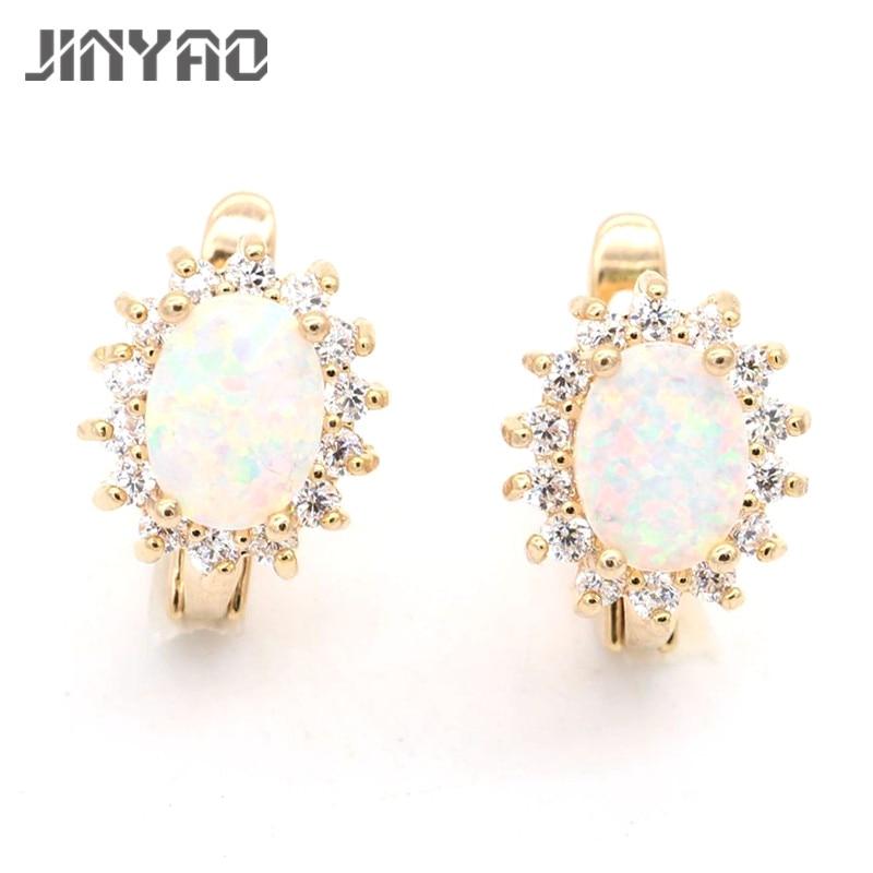 f91fd532e303 Jinyao joyería óvalo oro color AAA cubic zirconia Pendientes para mujeres  aniversario de boda joyería 4 colores