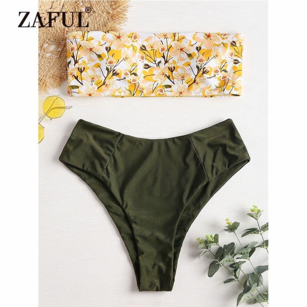 ZAFUL Plus Size Floral Bandeau Bikini Swimwear Women High Waist Swimsuit Contrast Strapless Bathing Suit High Cut Biquni 2018