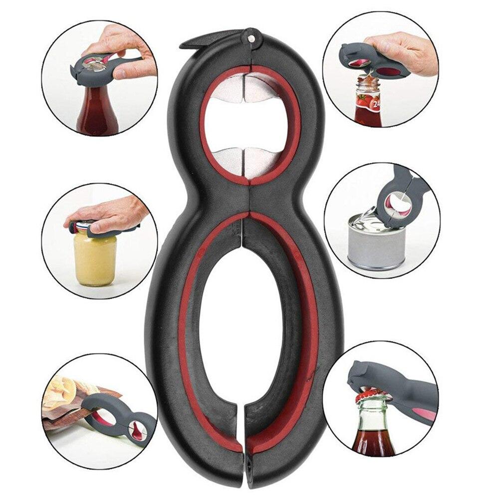 Creative 6 In 1 Opener Multi Function Twist Bottle Opener Stainless Steel Jar Gripper Can Wine Beer Lid Twist Off Jar Claw Tools