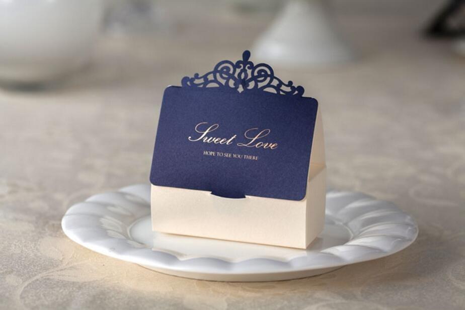 Royal Blue Wedding Party Favor Candy Box, Birthday