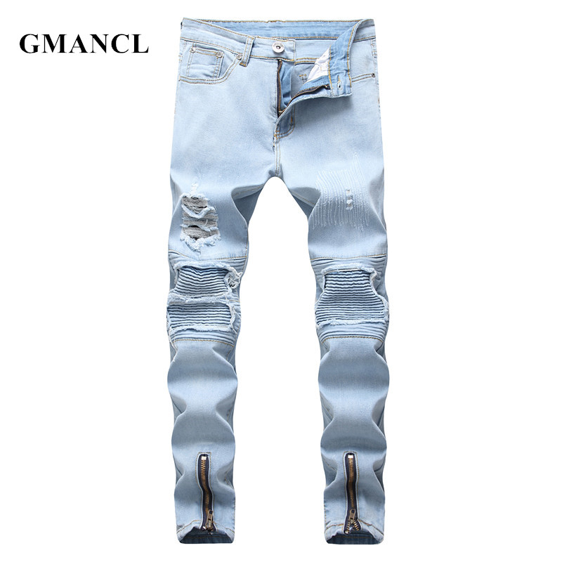 GMANCL 2018 Streetwear Hip Hop Style Men Destoryed Biker Jeans Ripped Skinny Casual Men Pleated Cotton Joggers Jeans Trousers