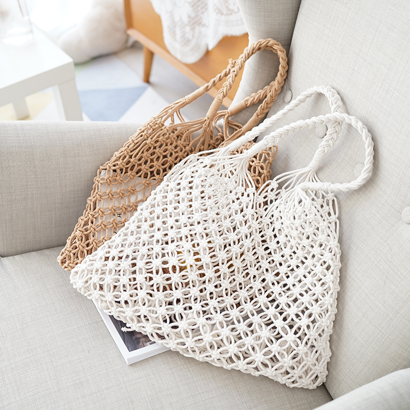 Nets bag shopping bag beach hollow out handbag women Weave shouder bag casual large big fold over bag white brown drop shipping in Shoulder Bags from Luggage Bags
