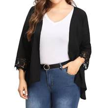 b0fcbc5c71f9e 2018 New Womens Casual Plus Size Solid Lace Open Front Loose Causal Lightweight  Kimono Cardigan XL,2XL,3XL,4XL,5XL Black