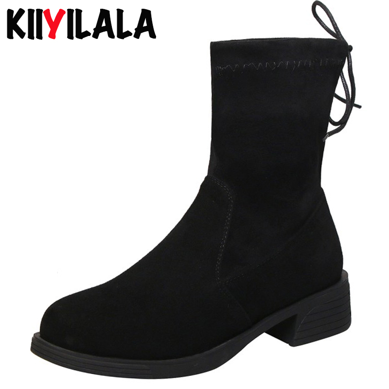 Kiiyilala Kid Suede Women Sock Boots women shoes Round Toe Platform With Lace Ankle For Ladies Booties Boman