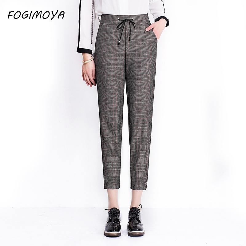 FOGIMOYA 2018 Plaid Ankle Length Harem Pants Women Spring High Waist Solid Lace Up Legging Women's Casaul Pockets Simple Pants