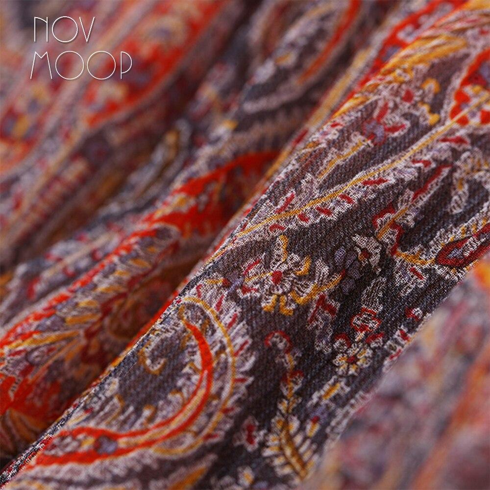 Летнее женское оранжевое синее платье с принтом пейсли из натурального шелка с v образным вырезом и галстуком на талии, пляжный сарафан трап... - 6