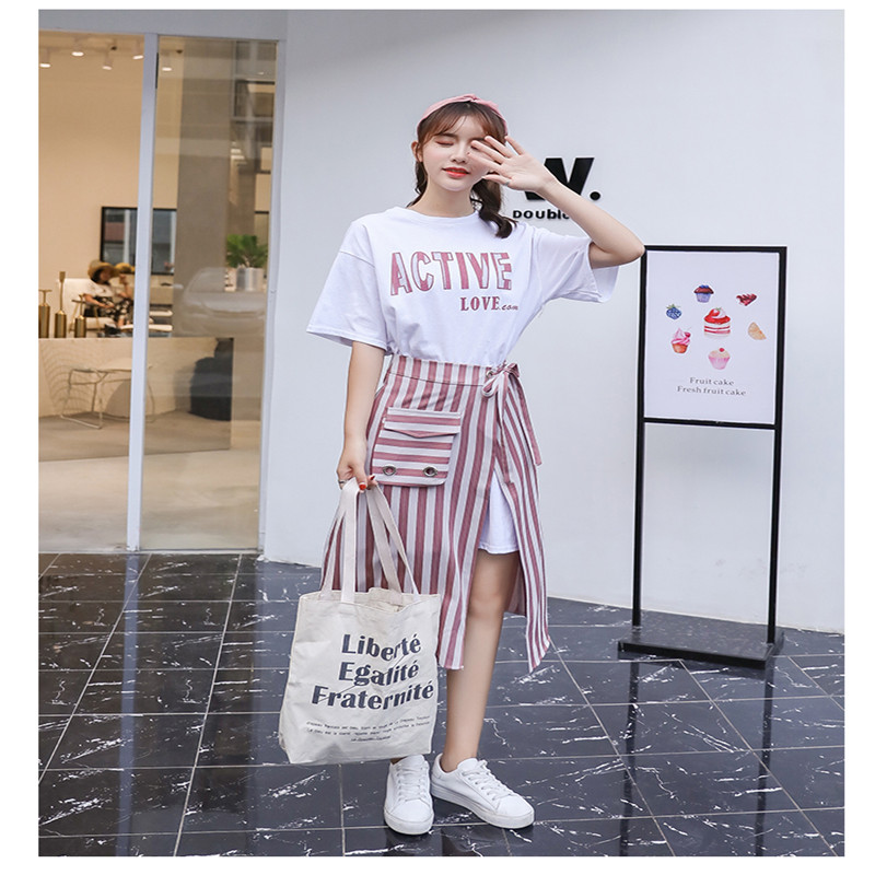 SMTHMA 2019 New Fashion Summer Women's Letters Long T-shirt + Split Striped Two Piece Female Casual Skirt Suits 3