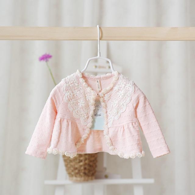 Idea2016 Новорожденных Девочек Одежда Оптом Детские Дети Шаль Свитер Симпатичные Кружева Цветок Кардиган Наряды Розовый Белый