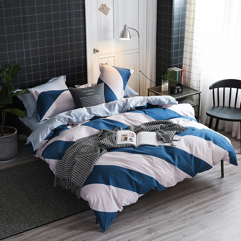 Blue White Striped Linen Bedding  | Striped Bed Sheet