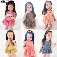 2017 Baby Girls Clothing 2PCS Sets Flowers Printed 6Colors Kids Sweet Girls Summer Beach Wear Clothes