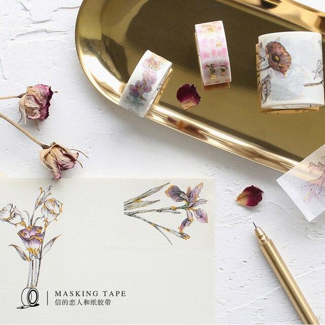 8 Stijlen Goudfolie Gild Washi Tape Japanse Leuke DIY Decoratieve Sticker Scrapbooking Dagboek Planner Notebook Afplakband