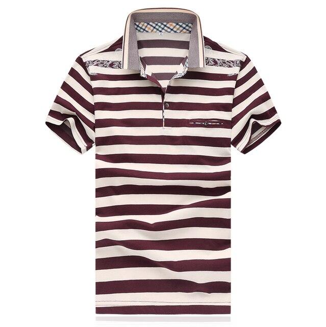 Мужчин Рубашки Поло 2016 Весной Полосатые Рубашки поло Поло Бренд Мужской Рубашки M-XXXXL 5XL D0140