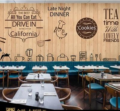 Cute Coffee Icon Large Mural Wallpaper Cafe Dessert Tea Shop Lounge In Wallpapers From Home Improvement On Aliexpress