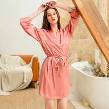 Shetelisi 2019 New Arrivals Satin Women Bathrobe Hollow out Lace Patchwork Robe with Sash sp0099