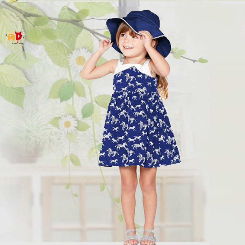 AD Cute Horse Pattern Girls Summer Dress Cotton Fabric Kids Beach Dresses Childrens Clothing Clothes