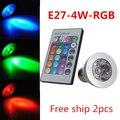 COB LED Lamp E27 4W 100-245V 220V RGB LED Light Spotlight Bulb Lamp with Remote Controller For Home Bar