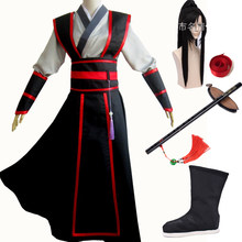 Wei Wuxian Young Grandmaster of Demonic Cultivation Cosplay Costume Wei Wuxian Mo Dao Zu Shi wei ying Costume wigs Boots(China)
