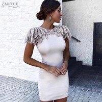 Adyce 2019 New Summer Bandage Dress Woman Celebrity Evening Party Dress Vestido Sexy White Beads Diamond Mini Runway Club Dress