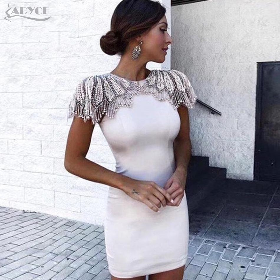 Adyce Fashion Bandage Dress 2018 Women Celebrity Evening Party Dresses Vestidos Sexy Beads Embellished Mini Runway Dress