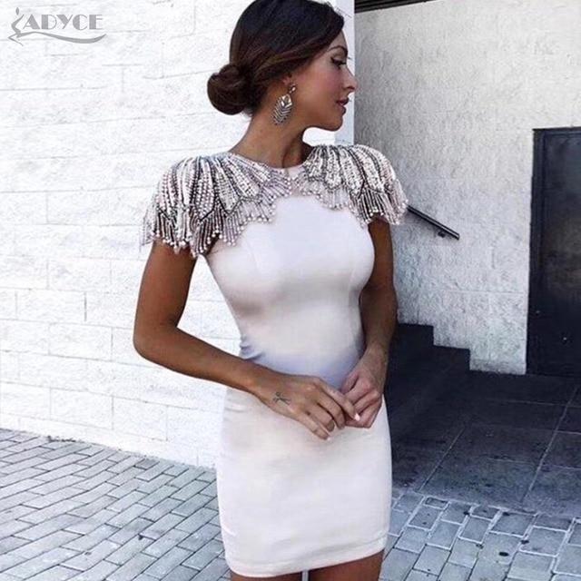 3a277a73abb Adyce New Summer Bandage Dress 2019 Woman Celebrity Evening Party Dress  Vestido Sexy White Beads Diamond Mini Runway Club Dress