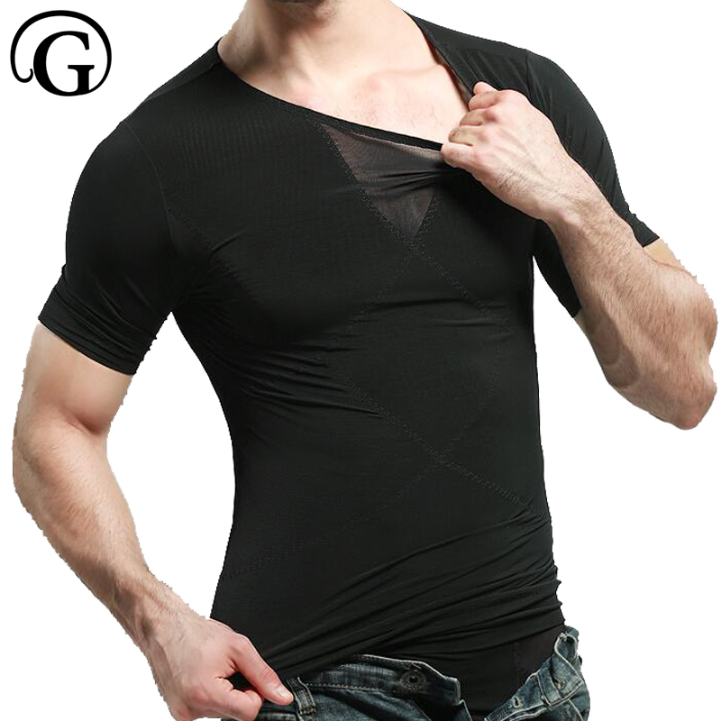 PRAYGER 2pcs Men Waist Shaper T Shirt Tummy Trimmer Stomach Vest Top Burn Reducer Shapewear Hook Slim Vest Beer Belly Shapers