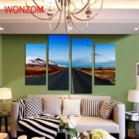 4 Panels Wide Highway Print Canvas Printings Modern Wall Art Pictures For Home Wall Art Decor