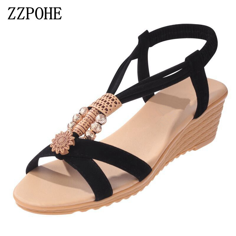 ZZPOHE Women Sandals Summer New Woman Fashion Platform Slip On Wedge Sandals Casual Comfortable Female Beach Shoes Size 35-40 casual bohemia women platform sandals fashion wedge gladiator sexy female sandals boho girls summer women shoes bt574
