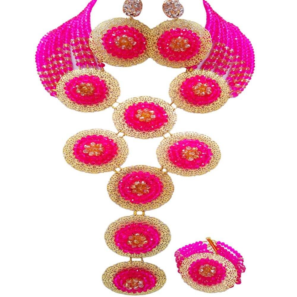 Mode Fuchsia rose et Champagne or AB collier africain nigérian perles ensemble de bijoux pour les femmes 9PHK09