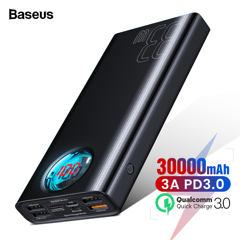 Baseus 30000mAh <font><b>Power</b></font> <font><b>Bank</b></font> USB C PD3.0 Fast Quick Charge 3.0 <font><b>30000</b></font> <font><b>mAh</b></font> Powerbank For <font><b>Xiaomi</b></font> mi Portable External Battery Charger image