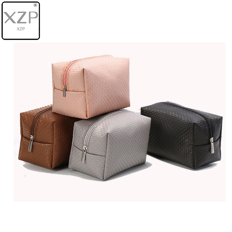 XZP Women Woven Pattern Solid Cosmetic Bag Travel Make Up Bags Fashion Ladies Makeup Pouch Neceser Toiletry Organizer Case