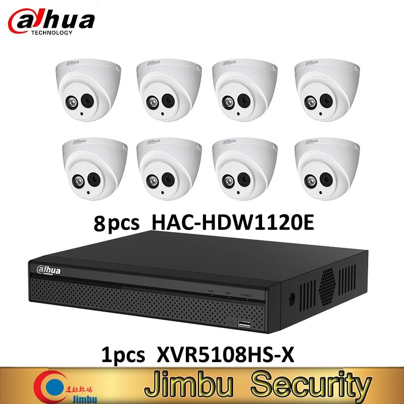 Dahua DVR kit 1pcs XVR5108HS X video recorder 8ch Up to 6MP H.265S and 8pcs HAC HDW1120E HDCVI camera 1MP IP67 cctv system