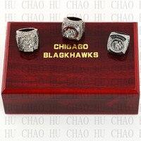 Đặt 3 CÁI 2010 2013 2015 Chicago Blackhawks NHL Hockey Stanely Cup Vô Địch Vòng 10-13 Kích Thước Logo Team Trường Hợp bằng gỗ Rắn trở lại