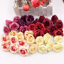 цена на 10pcs 4cm Silk Rose Artificial Flower Wedding Home Furnishings DIY Wreath Sheets Handicrafts Simulation Cheap Fake Flowers